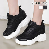 Wedge Platform Round Toe Lace-up Casual Style Street Style