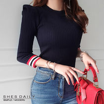 Crew Neck Short Stripes Casual Style Rib Bi-color Cropped