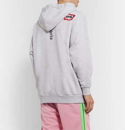 Street Style Long Sleeves Oversized Logo Hoodies