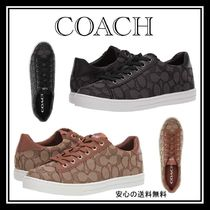 Coach Monogram Round Toe Lace-up Low-Top Sneakers
