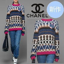 CHANEL Stripes Casual Style Wool Cashmere Street Style Long Sleeves