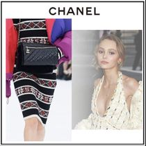 CHANEL Pencil Skirts Cashmere Medium Elegant Style Midi Skirts