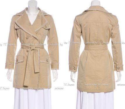 CHANEL TIMELESS CLASSICS Fringed Beige Trench Coat F38
