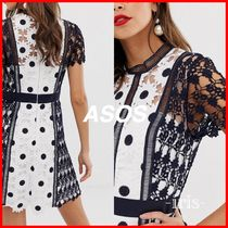 ASOS Short Dots Casual Style Tight Short Sleeves Party Style Lace
