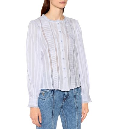 Long Sleeves Cotton Medium Lace Shirts & Blouses
