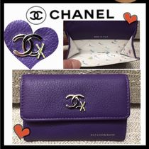 CHANEL ICON Bi-color Plain Leather Card Holders