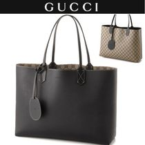 GUCCI A4 Plain Leather PVC Clothing Totes