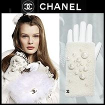 CHANEL Blended Fabrics Street Style Plain Leather With Jewels