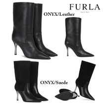FURLA Rubber Sole Casual Style Plain Leather Elegant Style