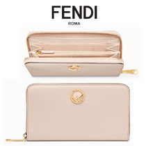 FENDI Unisex Plain Leather Long Wallets
