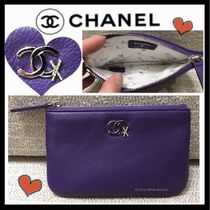 CHANEL ICON Bi-color Plain Leather Pouches & Cosmetic Bags