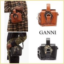 Ganni Plain Leather Shoulder Bags