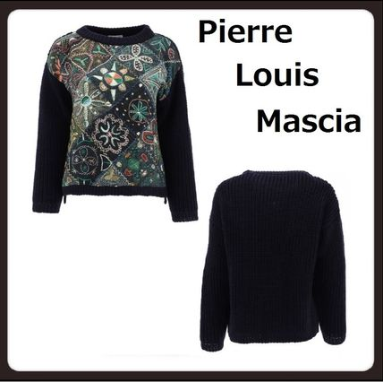 Crew Neck Flower Patterns Casual Style Wool Long Sleeves