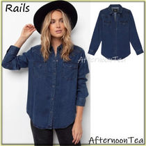 Rails Denim Long Sleeves Plain Medium Handmade Shirts & Blouses
