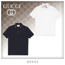 GUCCI Unisex Cotton Short Sleeves Polos