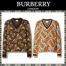 Burberry Casual Style Wool V-Neck Long Sleeves Medium Sweaters
