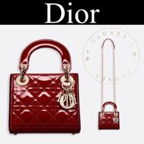 Christian Dior LADY DIOR Other Check Patterns Casual Style Calfskin Street Style 2WAY