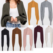 Short Casual Style Wool Rib Long Sleeves Plain Oversized