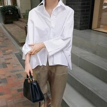 Short Casual Style Street Style Cropped Long Sleeves Plain