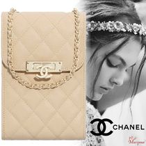 CHANEL Casual Style Blended Fabrics Street Style Chain Plain