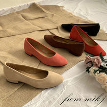 Round Toe Suede Street Style Plain Office Style