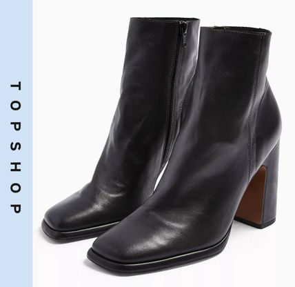 Casual Style Leather Block Heels Ankle & Booties Boots