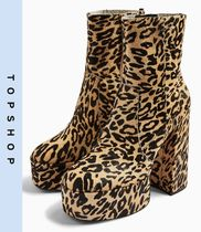 TOPSHOP Leopard Patterns Casual Style Leather Block Heels