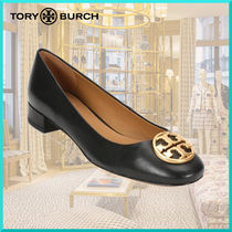 Tory Burch Round Toe Plain Leather Elegant Style Pumps & Mules