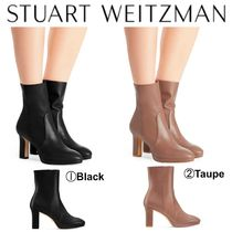 Stuart Weitzman Casual Style Plain Leather Chunky Heels