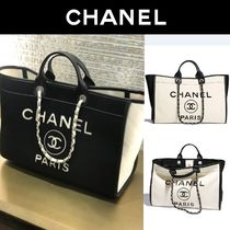 CHANEL Casual Style 2WAY Bi-color Chain Elegant Style Totes