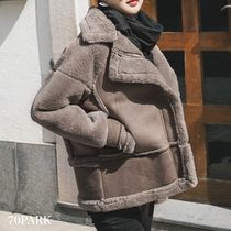 Casual Style Street Style Plain Medium Fur Leather Jackets