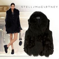 Stella McCartney Plain Medium Fur Vests Oversized Elegant Style Outerwear
