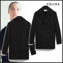 CELINE Casual Style Wool Plain Long Office Style Peacoats