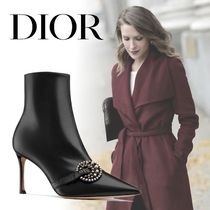 Christian Dior Plain Leather Pin Heels Elegant Style Ankle & Booties Boots