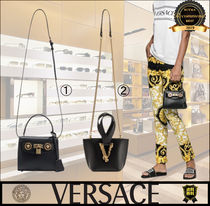 VERSACE Casual Style 2WAY Leather Elegant Style Crossbody Logo