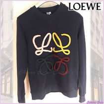 LOEWE Unisex Street Style U-Neck Long Sleeves Plain Cotton
