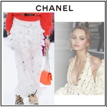 CHANEL Flared Skirts Flower Patterns Casual Style Silk Long