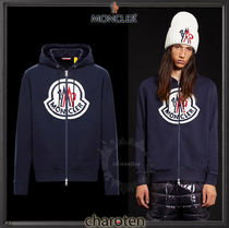 MONCLER Pullovers Unisex Street Style Long Sleeves Plain Cotton