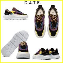 DATE Leopard Patterns Rubber Sole Casual Style Leather