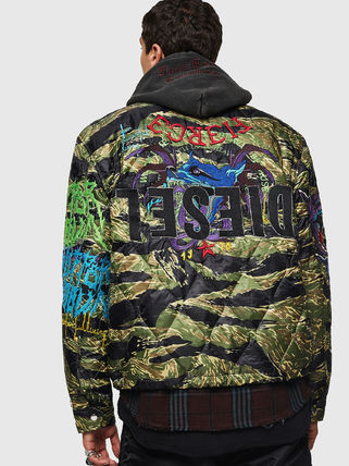 DIESEL Short Camouflage Street Style Jackets