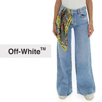 Off-White Denim Street Style Plain Cotton Long Oversized