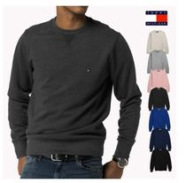 Tommy Hilfiger Crew Neck Pullovers Unisex Street Style Long Sleeves Cotton