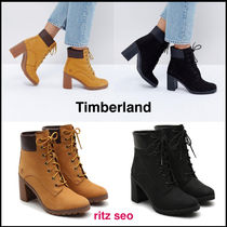 Timberland Casual Style Leather Block Heels High Heel Boots