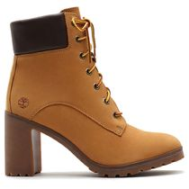 Timberland Casual Style Leather Block Heels Logo High Heel Boots