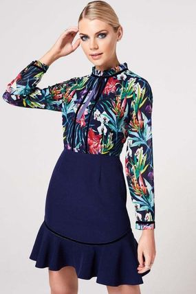 Short Flower Patterns Tight Long Sleeves High-Neck Dresses