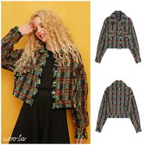 ELF SACK Short Other Check Patterns Casual Style Street Style Fringes