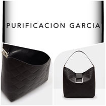 Purificacion Garcia Plain Leather Office Style Elegant Style Formal Style  Totes