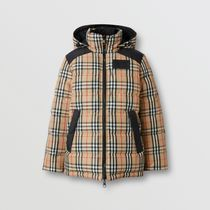 Burberry Other Check Patterns Nylon Blended Fabrics Down Jackets