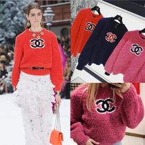 CHANEL Casual Style Wool Cashmere Long Sleeves Elegant Style