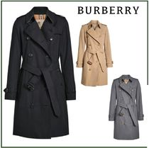 Burberry Plain Long Office Style Elegant Style Trench Coats